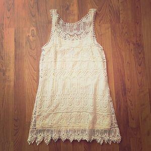 Lacy cream mini dress
